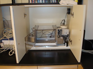 An operant chamber setup in Dr. Anne Marie Brady's laboratory.